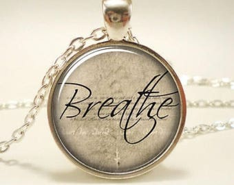Breath cabochon / anxiety necklace / anxiety pendant / mental health jewellery / breathe / calm necklace