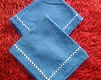 Set of 2 vintage napkins, Old kitchen napkins, Blue napkins, Table napkins, Retro blue napkins, Linen napkins, Kitchen decor, Gift for her