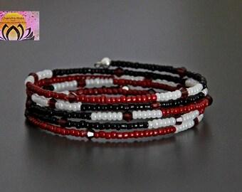 Beaded Wrap Bracelet-Red Black White Seed beads-Glass beads-Czech Beads-Friendship Bracelet-Intention Bracelet-Boho-Stacking-Wire Bracelet