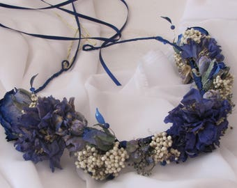 Haircrown Tiaras real Flowers dried roses and flowers Something blue