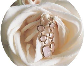 Rose Quartz Earrings, Gold Dangle Earrings, Quartz Earrings, Delicate Earrings