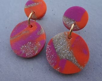 Bambino Earrings - Neon Orange / Stud Earrings / Drop Earrings / Abstract Earrings / Modern Earrings