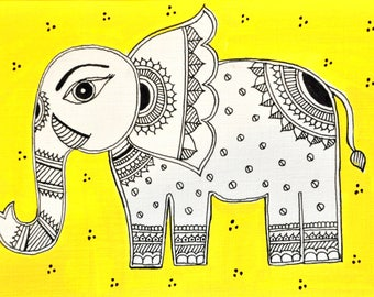 Indian Elephant Madhubani Cards - A6 (Pack of 5)