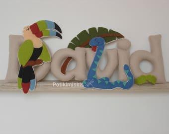 Jungle Animals, custom felt letters, personalized felt name, felt decoration, handicraft