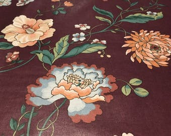 Vintage - Bloomcraft 1981 Luther Travis pale blue and peach vining floral on plum lightweight med sheen cotton