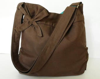 Virine Brown shoulder bag, cross body messenger everyday handbag, travel...
