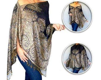Plus Size Navy Poncho Shawl Dark Blue Pashmina Scarf Wrap By ZiiCi