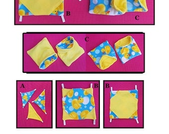 7pc RUBBER DUCKY/Sunny Yellow Snuggle Set for Small Animals