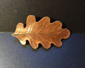 Oak leaf hair pin. Wrought Leather