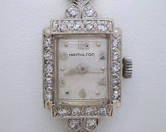A vintage Hamilton 14k white gold and diamond ladies watch art deco