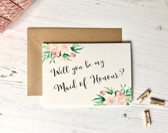 Will you be my Maid of Honour Card || Floral Maid of Honour Gift || Bridesmaid