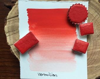 Vermilion. Half pan, full pan or bottle cap of handmade watercolor paint