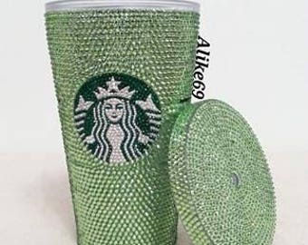Bling! Crystallized Swarovski Elements Rhinestones Starbucks Cold Cup - Sparkle Green!