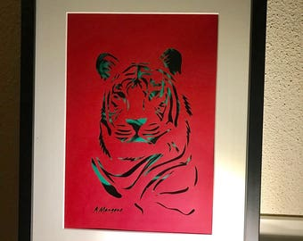 Tiger sheet of paper cut