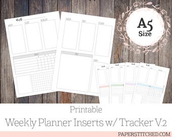 PRINTABLE Weekly Planner Inserts w/ Habit Tracker V.2, A5 Size, Vertical Inserts, Ringbound