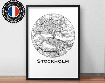 Poster Stockholm Sweden Minimalist Map - City Map, Street Map