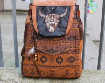 Backpack South West II, Leather, embroidery, upcycling