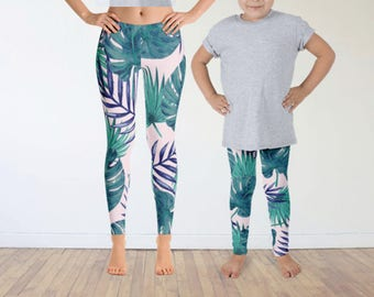 Mommy Daughter Palm Leaf Tights,Mother Daughter Matching, Leaf Leggings, Palm Leaf Leggings Set, Yoga Leggings,Mom Child Yoga Pants,Matching