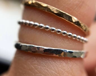 Textured Stacking Rings - Sterling Silver & 14k Goldfill