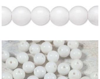 WHITE MOUNTAIN JADE 4mm round beads, natural gemstone, 50 bead package. Fourth of July, Independence Day