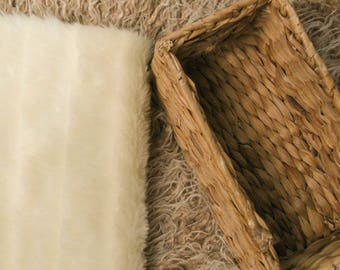 Ivory Fancy Groove Faux Fur, Photography Posing Backdrop, Posing Blanket,Mink Faux Fur,Photography Prop Size 14 x 20