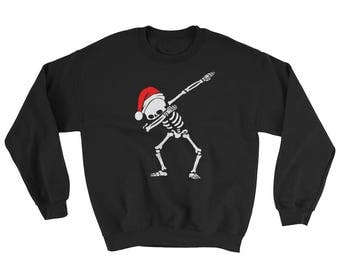 Funny Christmas Dabbing Skeleton Christmas Dab Skull Dabbing Skeleton with Santa Hat Sweatshirt