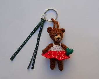 """Jewelry bag: """"little brown Teddy bear wearing a red and white summer dress"""""""