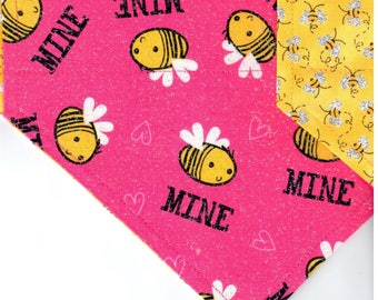 Bee Mine | Valentines Day Dog Bandana | Dog Bandana | Puppy Bandana | Pet Bandana | Over the Collar Bandana