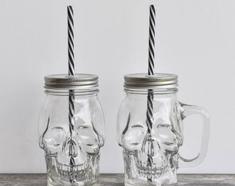 Skull Glass Jar | drinking jar | drinking glass | glass skull | skull homeware | mason jar mug | drink and barware | halloween | party favor