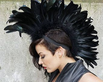Black Rooster Feather Mohawk