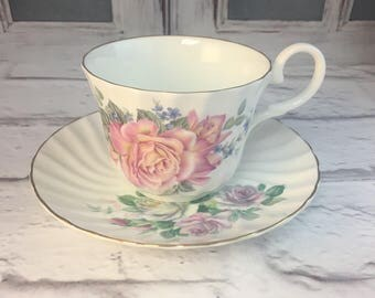 Allyn Nelson Pink Roses Muted Shabby Pastels Flowers Floral Fluted Tea Cup and Saucer Fine Bone China Vintage England Made Lovely Excellent