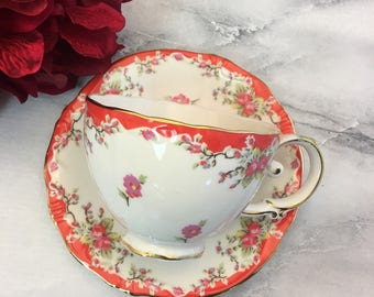 Pink Rosebuds Chintz Orange Swag and Gold Trim Tea Cup and Saucer Setby Graces Teaware Lovely Excellent