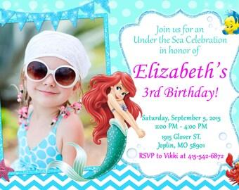 Little Mermaid Invitation Birthday - Ariel Invitation Party