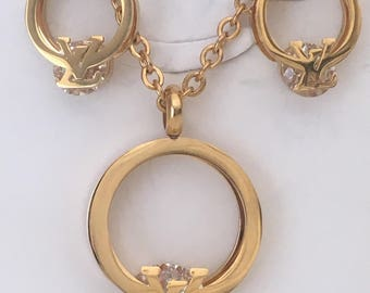 Louis Vuitton Inspired Necklace and Earrings Set