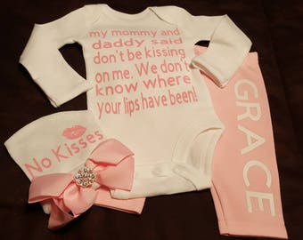 Mommy & Daddy Said No Kissing, Lips,  Kisses, Girls Onesie Set with Bow Cap - Would Make An Adorable Baby Shower Gift Set