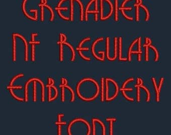 Art Deco Font - Grenadier NF Regular Machine Embroidery Font Now Includes BX Format! In Four Sizes 0.5, 1, 2 & 3 inch - Instant Download!
