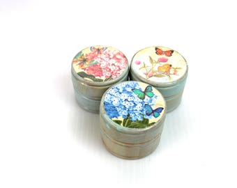 Set of 3 Buttefly and Blooms  Wood  RIng Tricket Box