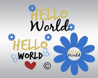 Hello world SVG Clipart Cut Files Silhouette Cameo Svg for Cricut and Vinyl File cutting Digital cuts file DXF Png Pdf Eps