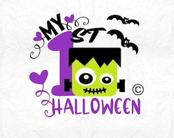 my 1st halloween SVG Clipart Cut Files Silhouette Cameo Svg for Cricut and Vinyl File cutting Digital cuts file DXF Png Pdf Eps