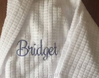 Waffle weave robe, Bride, Bridesmaids, monogrammed, personalized robe