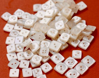 Square White Plastic Buttons
