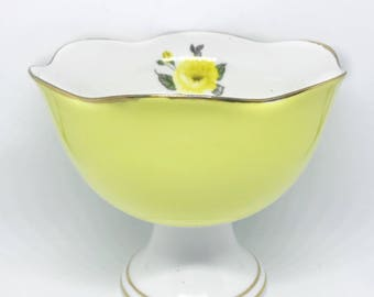 FREE SHIPPING - Cheeky China, Custom Yellow Floral Trinket Tray // Ice Cream bowl