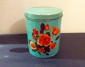 Vintage turquoise color with yellow flowers metal box