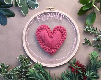 Forever Love Tulle Embroidery Hoop, Wall Art, Home Wall Art, Home Decor ,Wall Hanging,Hand Embroidery, Tulle Embroidery, Embroidery hoop