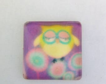 5 OWL flower 10x10mm square cabochons