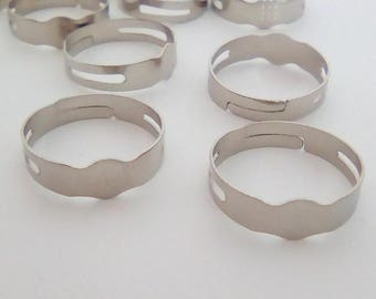 10 ring adjustable silver 16x4mm sifter
