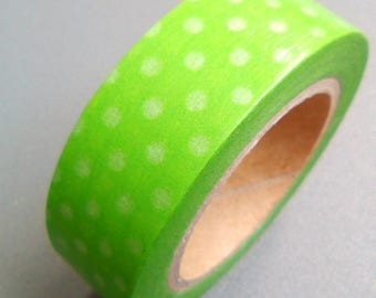 Masking tape 10 m green white dots