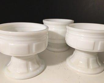 3 Mid century white milk glass Bouquet centerpieces.Milk Glass pot and planters.