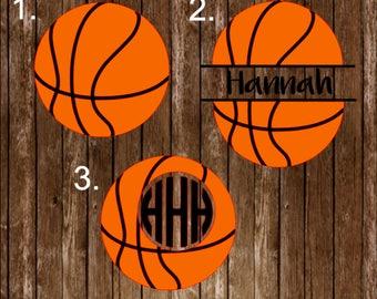 Basketball decal, monogram decal, basketball