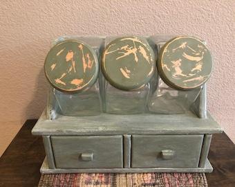 Vintage Canister Set, Glass Canister Set, Farmhouse Canister Set, Farmhouse Storage, Vintage Storage